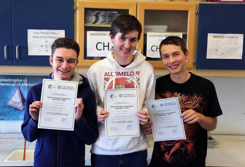 Bexhill Students Win South East Heats Of The Royal Society of Chemistry's Schools Analyst Competition