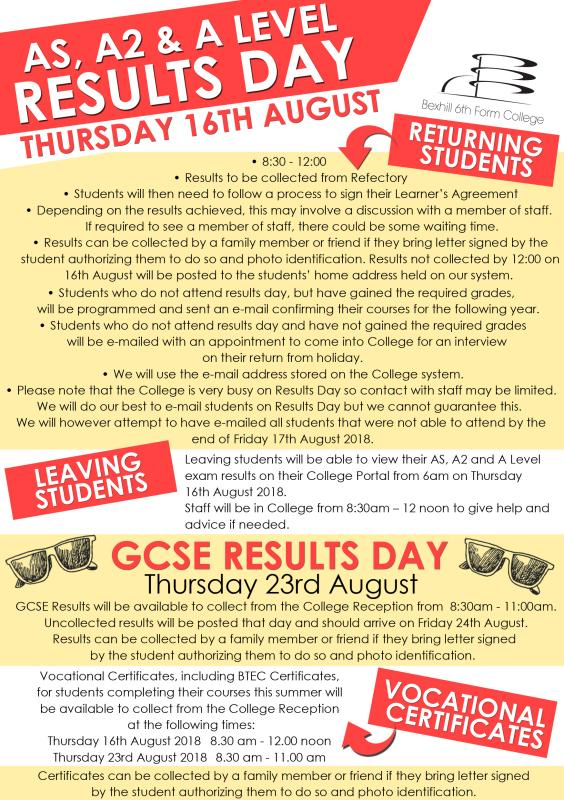 Results Day - 16th and  23rd August 2018