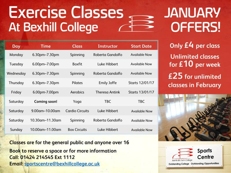 January Offers On New Exercise Classes