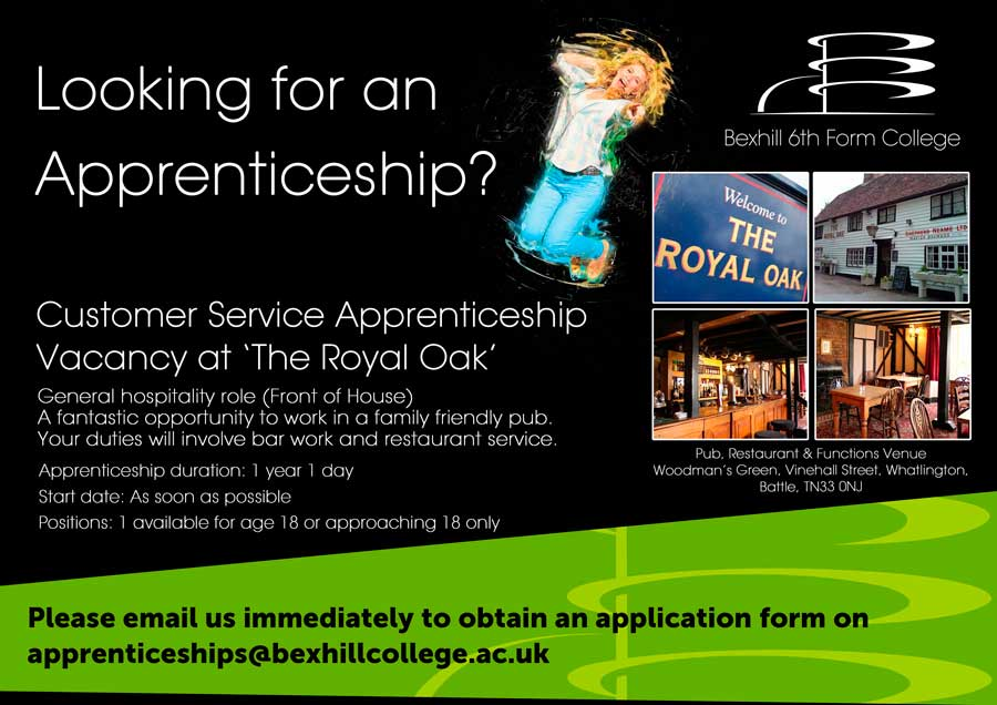 Apprenticeship Vacancy at Royal Oak Pub