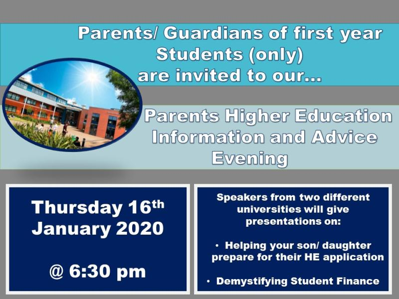 Higher Education Information and Advice Evening