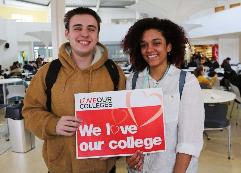 Bexhill College Students share the love whilst supporting the #LoveOurColleges Campaign