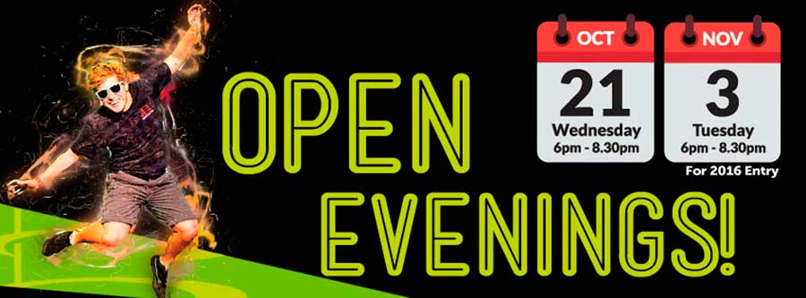 Open Evenings: 21st October & 3rd November For 2016 Entry
