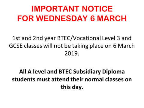 Important Notice For Wednesday 6th March