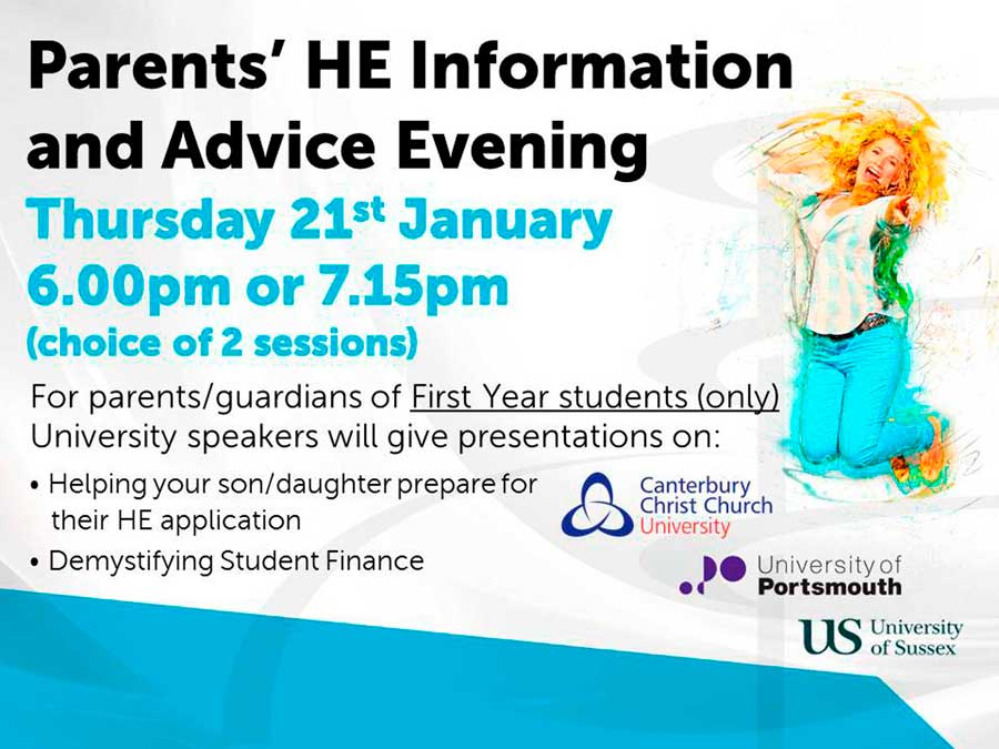 Parents' Higher Education Evening On 21st January