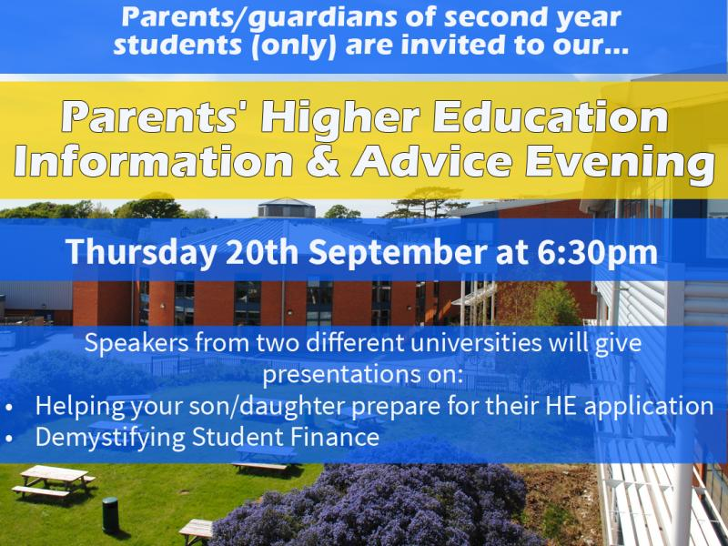 Parents' Higher Education Information and Advice Evening