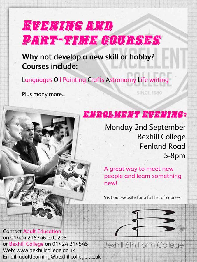 Enrolment evening for adult part-time and evening courses