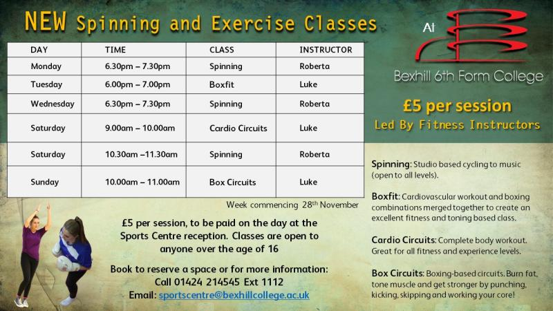 NEW Spinning & Exercise Classes At Bexhill College