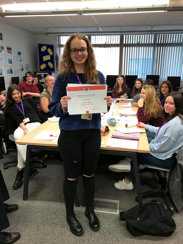 Language Student Receives Special Mention Certificate From European Commission