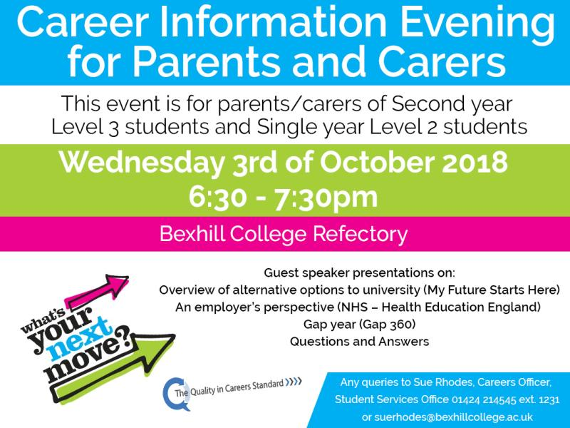 Careers Information Evening for Parents and Carers - Alternative Options to University