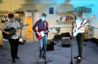 Students rehearsing for Vinyl Revival